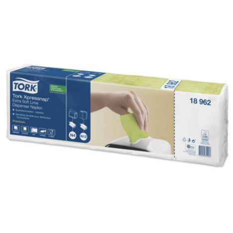 Tork Xpressnap® dispenserservet 21,6x16,5cm 2-laags 1/2-vouw lime N4